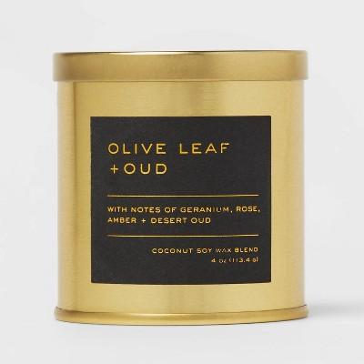 4oz Lidded Metal Jar Black Label Olive Leaf and Oud Candle - Threshold™