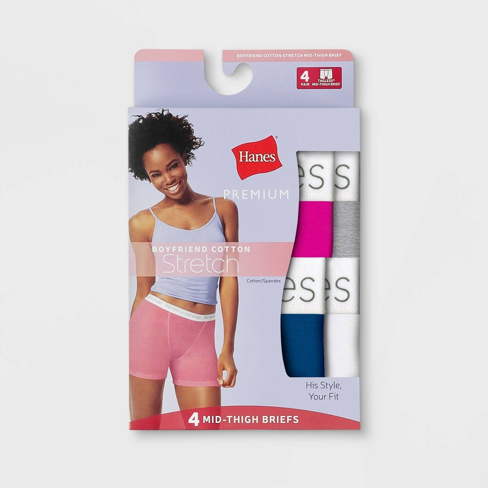 Hanes Premium Women's 4pk Cotton Long Leg with Comfortsoft Waistband Boxer Briefs - Color May Vary M, Multicolored