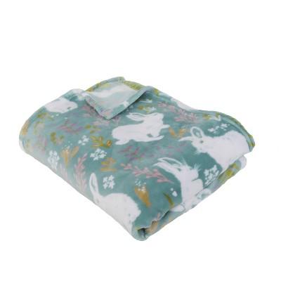 "50""x70"" Flannel Fleece Folded Edyta Easter Bunny Throw Blanket Blue - Décor Therapy"