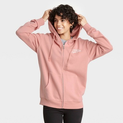 Women's To All The Boys Botanical Flowers Zip-Up Hooded Graphic Sweatshirt - Pink