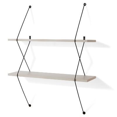 "38.5"" x 31.5"" Two-Tier Wire Bracket Shelves Gray/Black - Danya B."