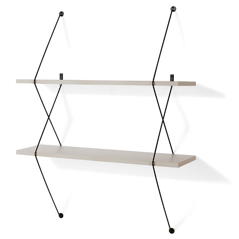 """38.5"""" x 31.5"""" Contemporary Two Tier Shelves with Wire Brackets Gray/Black - Danya B. - image 1 of 4"""