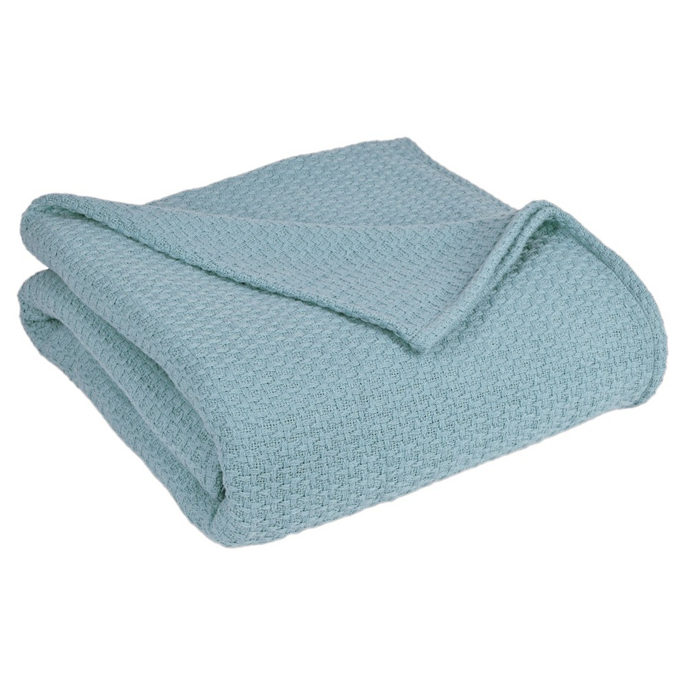Image of Grand Hotel Cotton Solid Blanket (King) Pearl Blue - Elite Home