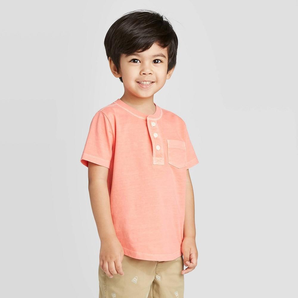 Image of OshKosh B'gosh Toddler Boys' Henley Pocket Knit T-Shirt - Peach 2T, Toddler Boy's, Red