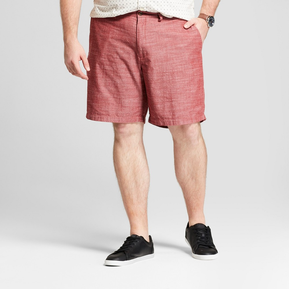 Men's Big & Tall 9 Textured Linden Flat Front Chino Shorts - Goodfellow & Co Ferrous Red 56