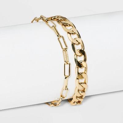 SUGARFIX by BaubleBar Gold Link Chain Bracelet Set - Gold