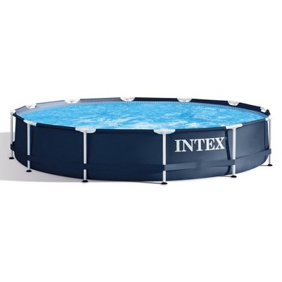 Intex 28211ST 12-foot x 30-inch Metal Frame Round 6 Person Outdoor Backyard Above Ground Swimming Pool with Krystal Klear Filter Cartridge Pump, Navy