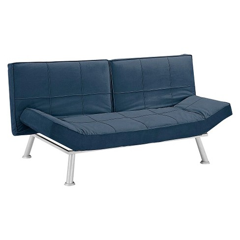 3c5f839d772d8f Brighton Microfiber Convertible Sofa in Navy Blue with Square ...