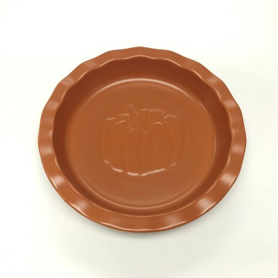 "10"" Stoneware Pumpkin Pie Dish Orange - Threshold™"