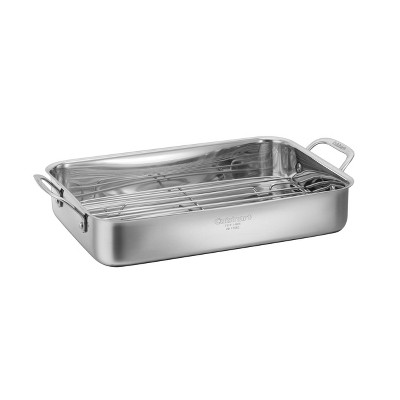 "Cuisinart Chef's Classic 14"" Stainless Steel Lasagna Pan & Stainless Roasting Rack - 7117-14RR"