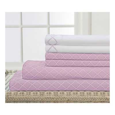 Revina 6pc Embroidered Microfiber Sheet Set (Queen)Orchid - Elite Home Products
