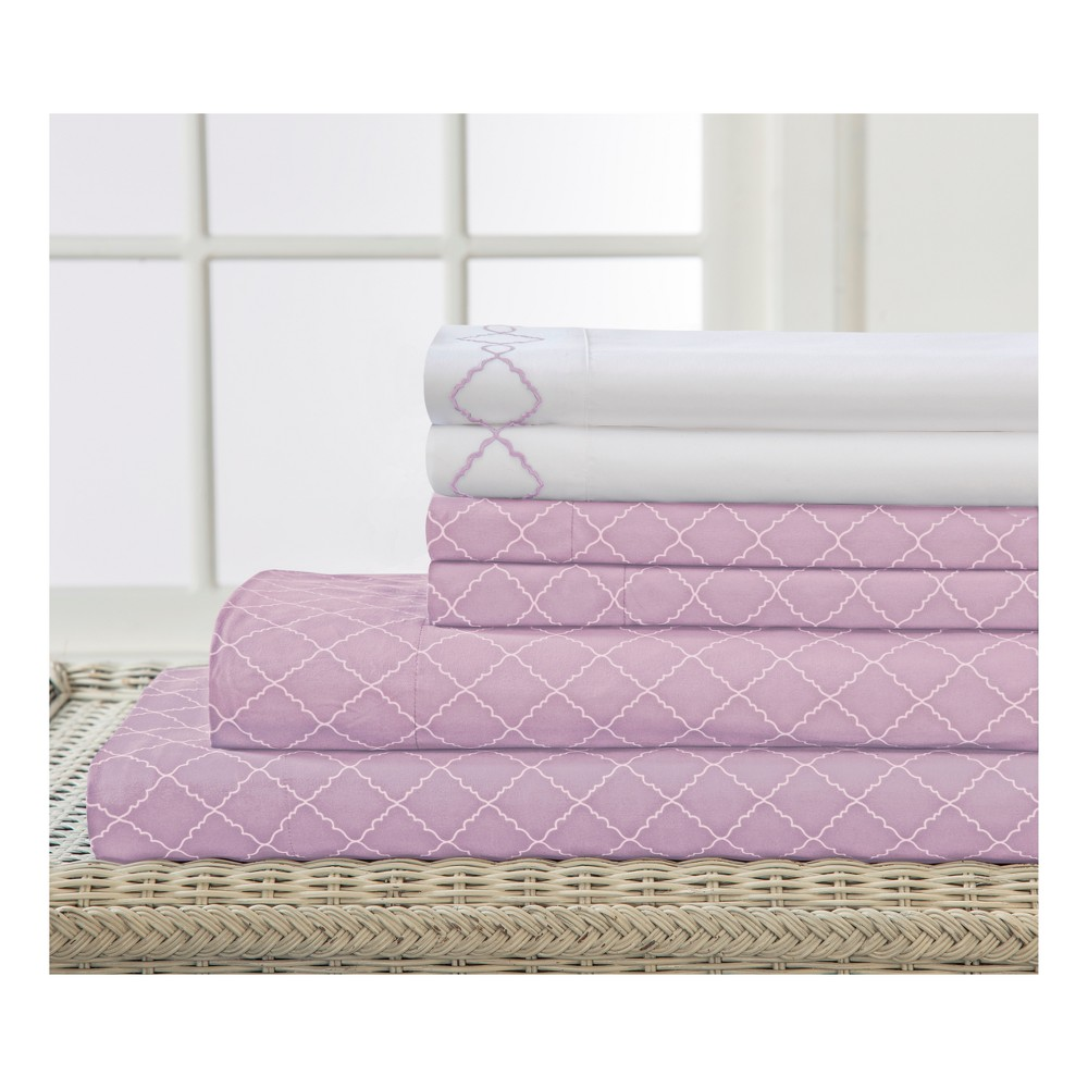 Revina Embroidered Microfiber Sheet Set (King) Orchid - Elite Home Products