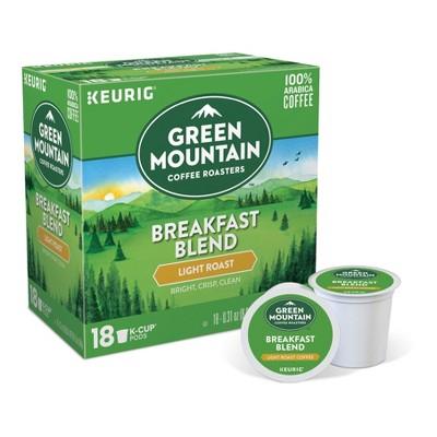 Green Mountain Coffee Breakfast Blend Light Roast Coffee - Keurig K-Cup Pods - 18ct
