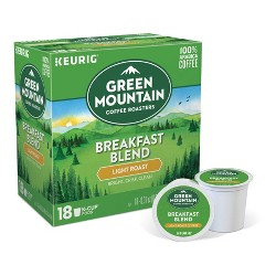 Green Mountain Coffee Breakfast Blend Light Roast Coffee - Keurig K-Cup Pods - 18ct