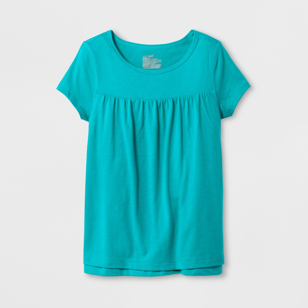 Girls' Adaptive Short Sleeve Knit Top - Cat & Jack Turquoise XL, Blue