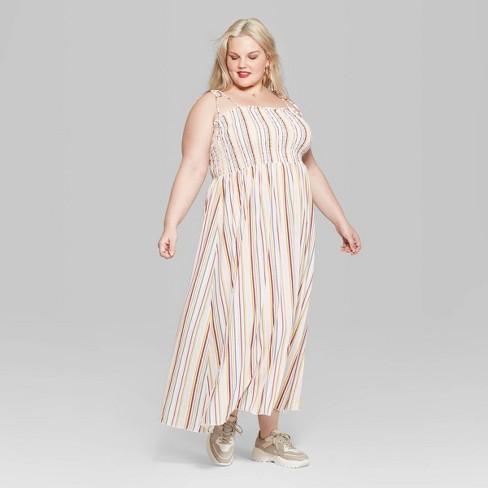 Women\'s Plus Size Striped Sleeveless Tie Strap Smocked Top Maxi ...
