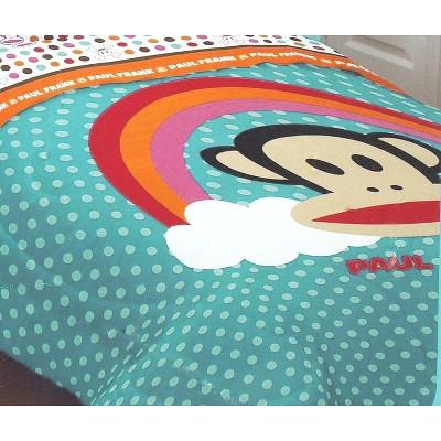 Rainbow Polka Dots - Monkey Twin Bed Comforter - Paul Frank..
