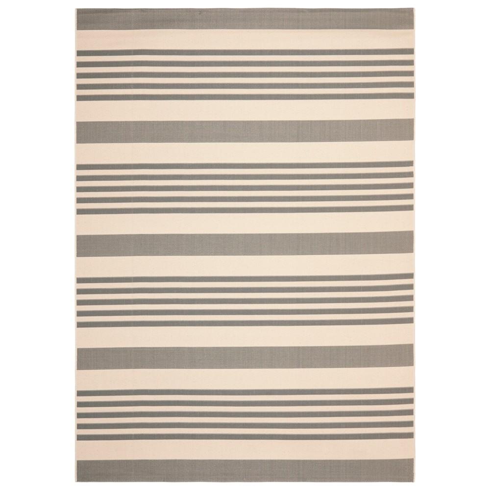 Santorini Stripe Rectangle 9' X 12' Outdoor Rug - Gray / Bone - Safavieh