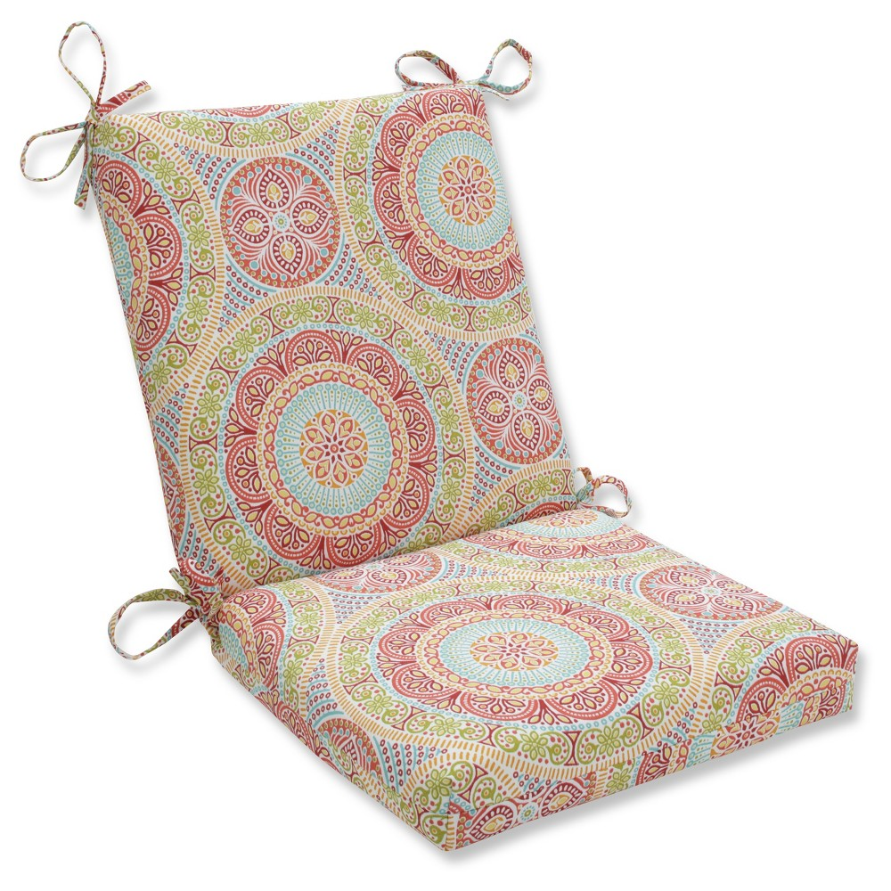 Outdoor/Indoor Delancey Jubilee Squared Corners Chair Cushion - Pillow Perfect, Multi-Colored