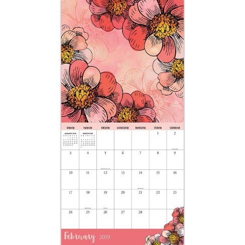 2019 Wall Calendar Watercolor Flowers Tf Publishing Target