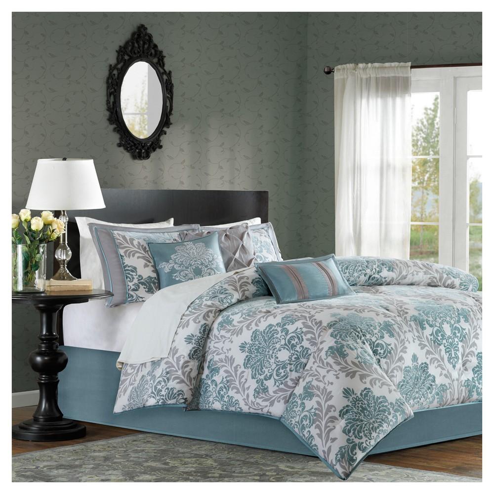 Image of 7 Piece Charlize Printed Comforter Set (King) - Aqua, Blue