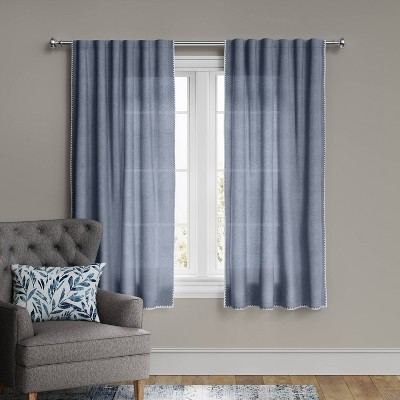 "95""x54"" Stitched Edge Light Filtering Curtain Panel Navy - Threshold™"