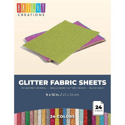 Leather Fabric Sheets with Glitter for DIY Crafts (9x13 in, 24-Pack)
