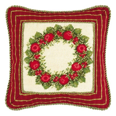 C&F Home Colonial Williamsburg Apple Wreath Needlepoint Pillow