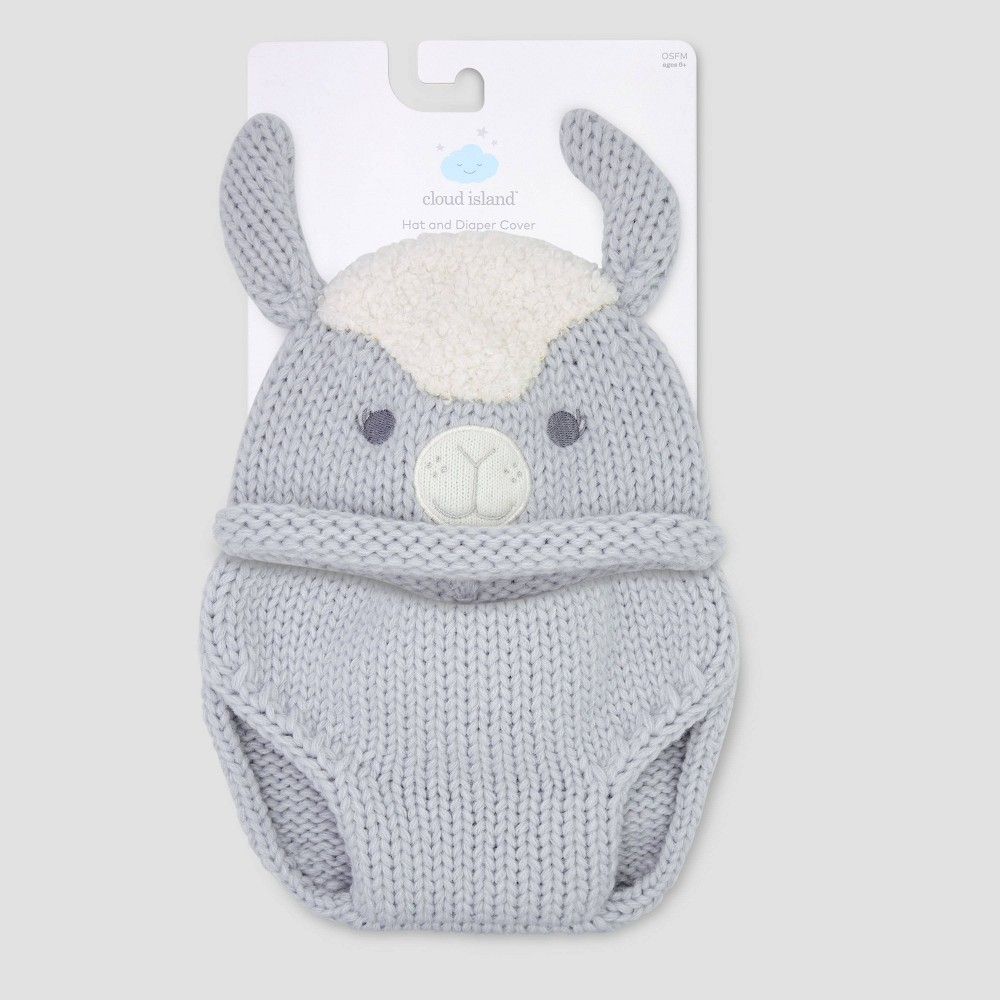 Image of Baby Llama Hat & Diaper Cover Set - Cloud Island 0-6M, Kids Unisex, Size: Small, MultiColored