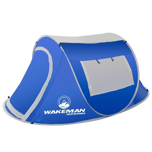 Wakeman Pop-Up Tent 2 Person Water Resistant Barrel Style Tent For Camping With Rain Fly and Carry Bag - Blue - image 1 of 7