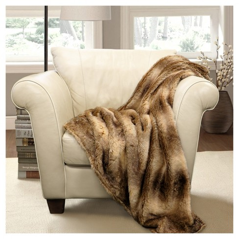 "Brown Faux Fur Graham Throw (60""x50"") - Lush Décor - image 1 of 1"