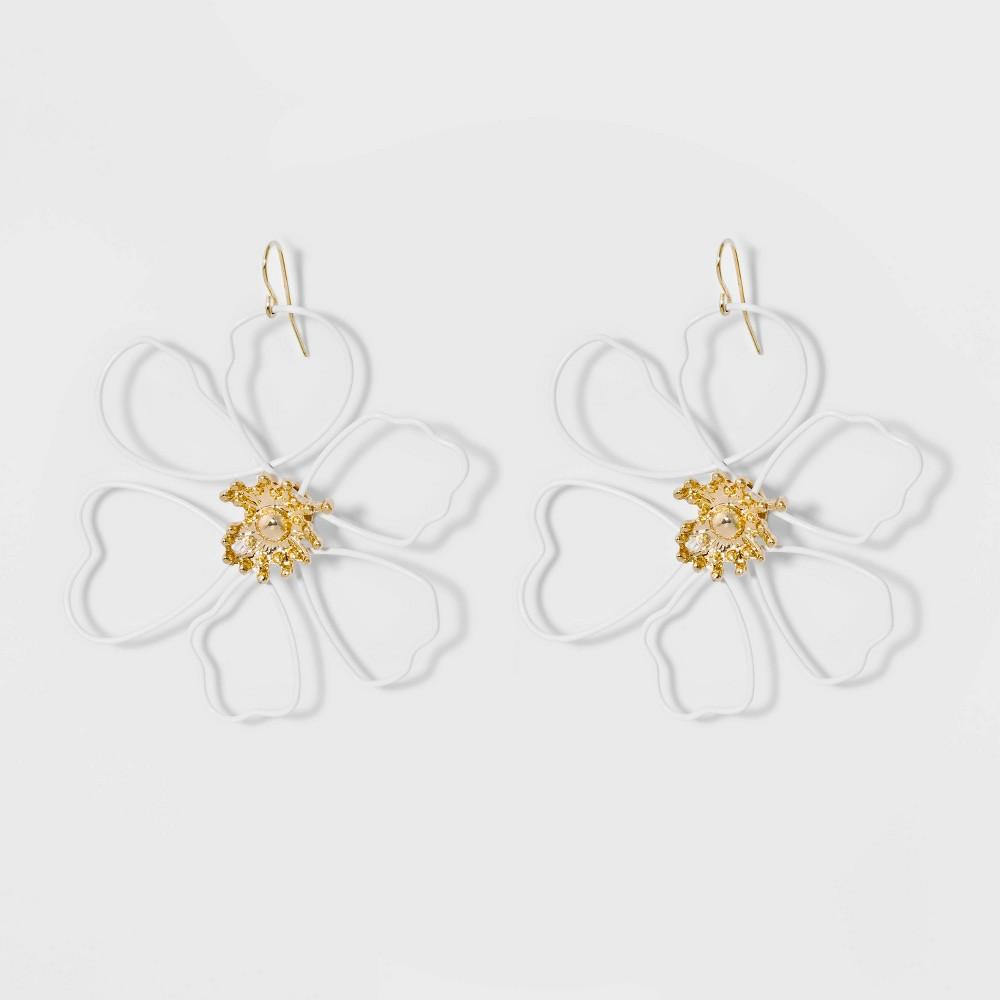 Sugarfix by BaubleBar Wire Flower Drop Earrings - White, Women's