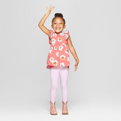 Toddler Girls' Top and Bottom Set - Cat & Jack™ Peach/Pink 12M