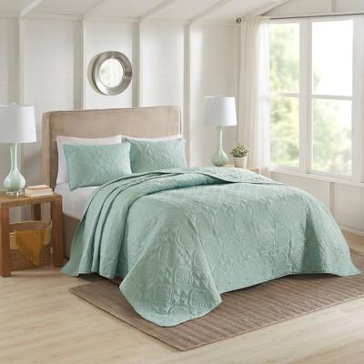 Glen Full/Queen 3pc Reversible Bedspread Set Seafoam
