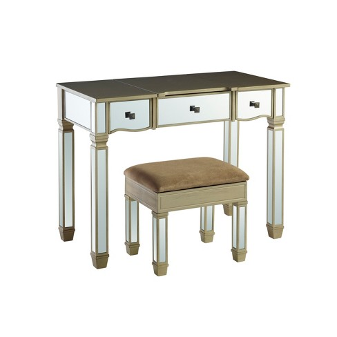 Genevieve Vanity Mirror & Storage Bench Mirrored - Powell Company - image 1 of 4
