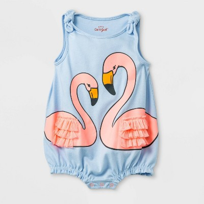 Baby Girls'  Flamingos Ruffle Wings  Sleeveless Tie Strap Jersey Romper - Cat & Jack™ Blue Newborn