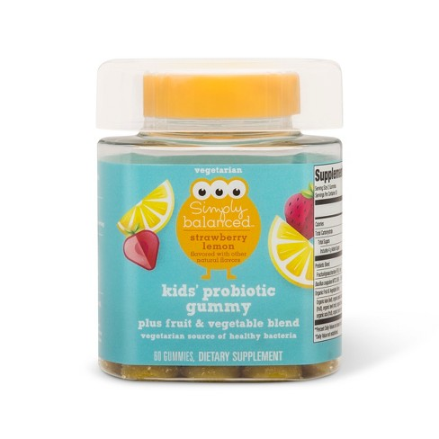 Kids' Probiotic Gummies - Strawberry Lemon - 60ct - Simply Balanced™ - image 1 of 1
