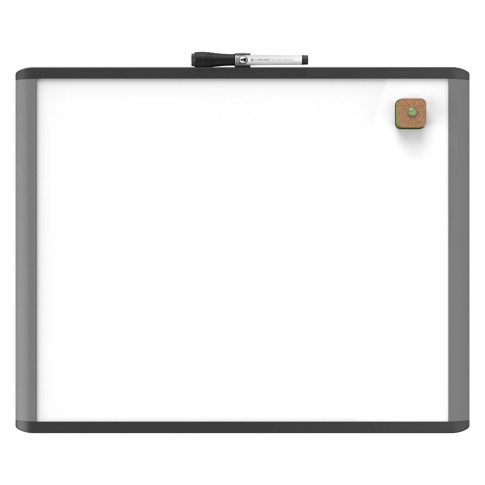 U Brands Mod Dry Erase Board, 20 x 16 - Black/Gray Frame, White