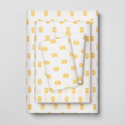 Twin XL Printed Easy Care Cotton Sheet Set Yellow Sundot - Opalhouse™