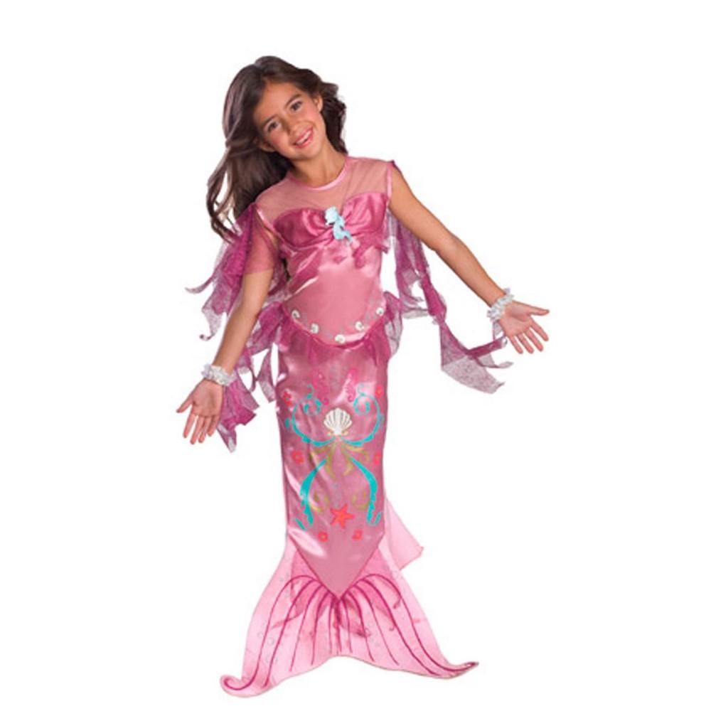 Girls' Pink Mermaid Halloween Costume S, Multicolored