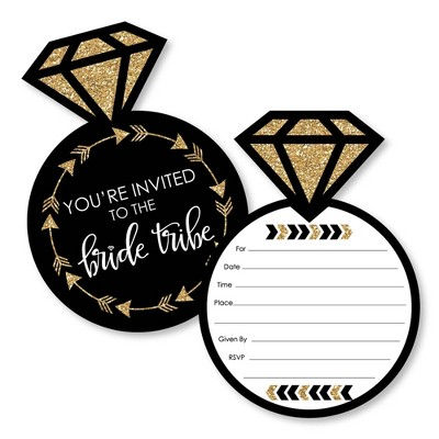 """Big Dot of Happiness """"Bride Tribe"""" - Shaped Fill-In Invitations - Bridal Shower or Bachelorette Party Invitation Cards with Envelopes - Set of 12"""