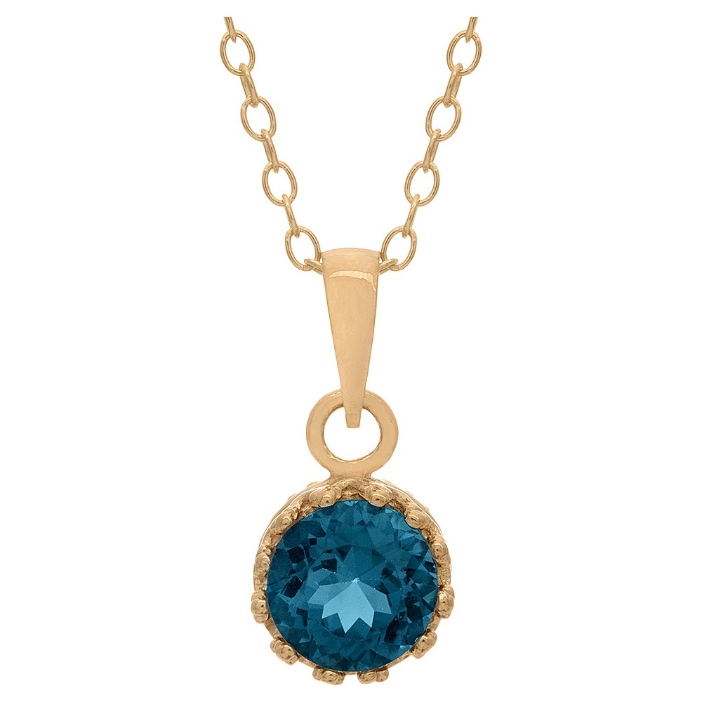 5/6 Tcw Tiara London Blue Topaz Crown Pendant in Gold Over Silver