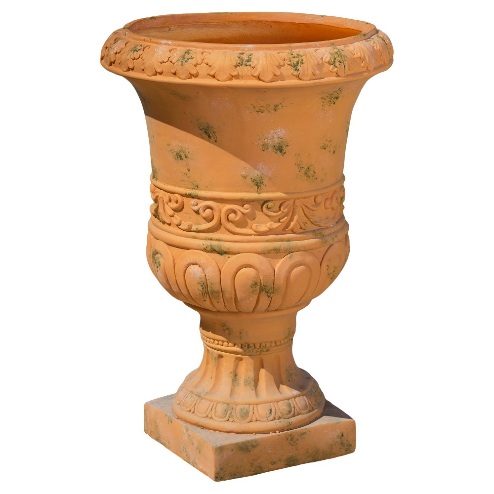 Image of 26 Turkish Cast Stone Patio Urn - Christopher Knight Home, Antique Green
