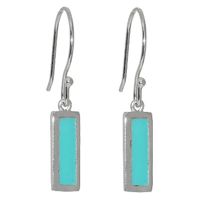 Sterling Silver Rectangular Drop Earrings - Turquoise/Silver