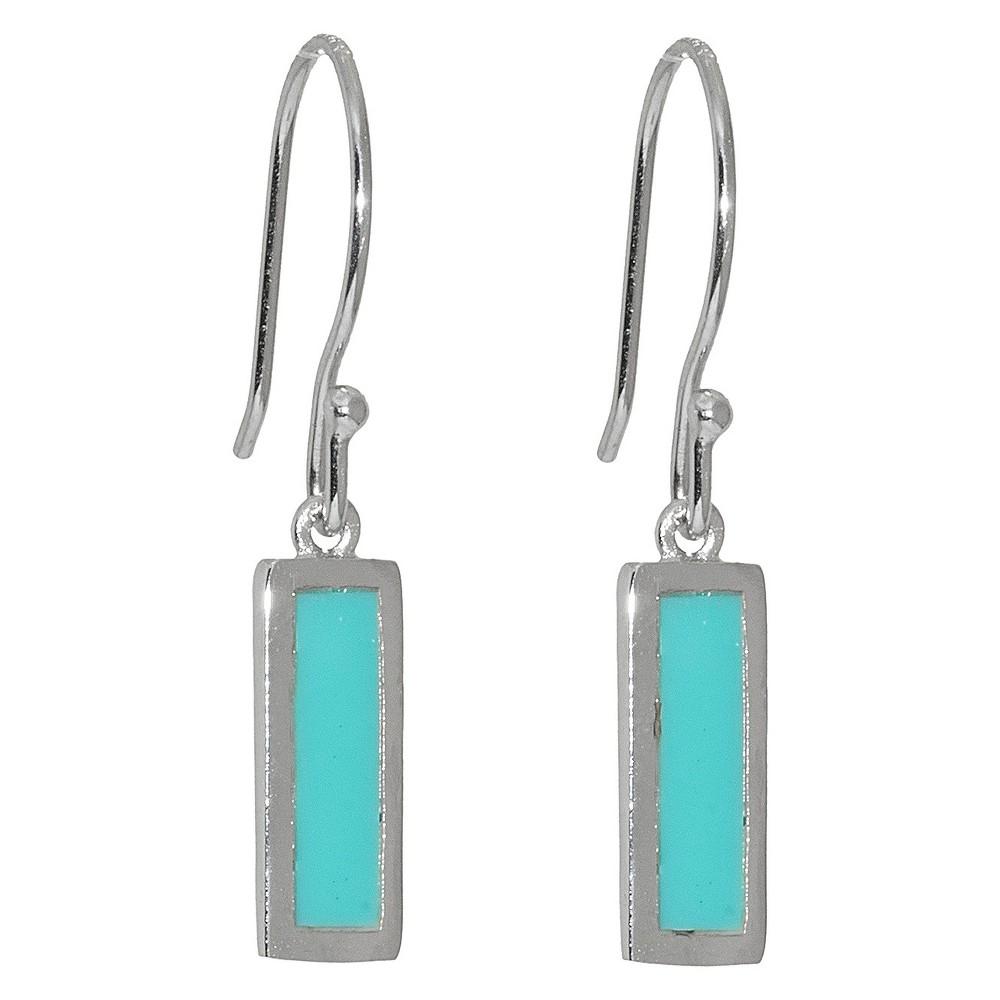 Sterling Silver Rectangular Drop Earrings - Turquoise/Silver, Girl's, Turquoise/Sterling
