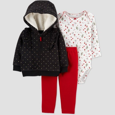 Baby Girls' 3pc Dots Cardigan,Floral Top & Bottom Set - Just One You® made by carter's Black/White 6M