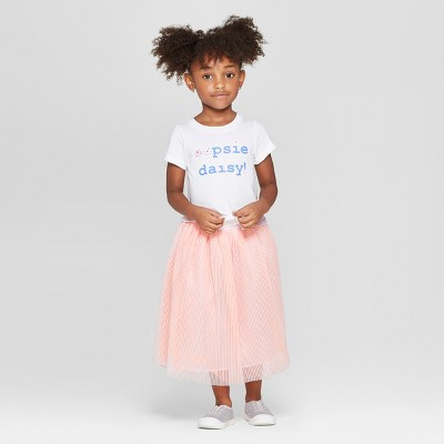 Toddler Girls' Tie-Front Top and Bottom Set - Cat & Jack™ White/Peach 12M