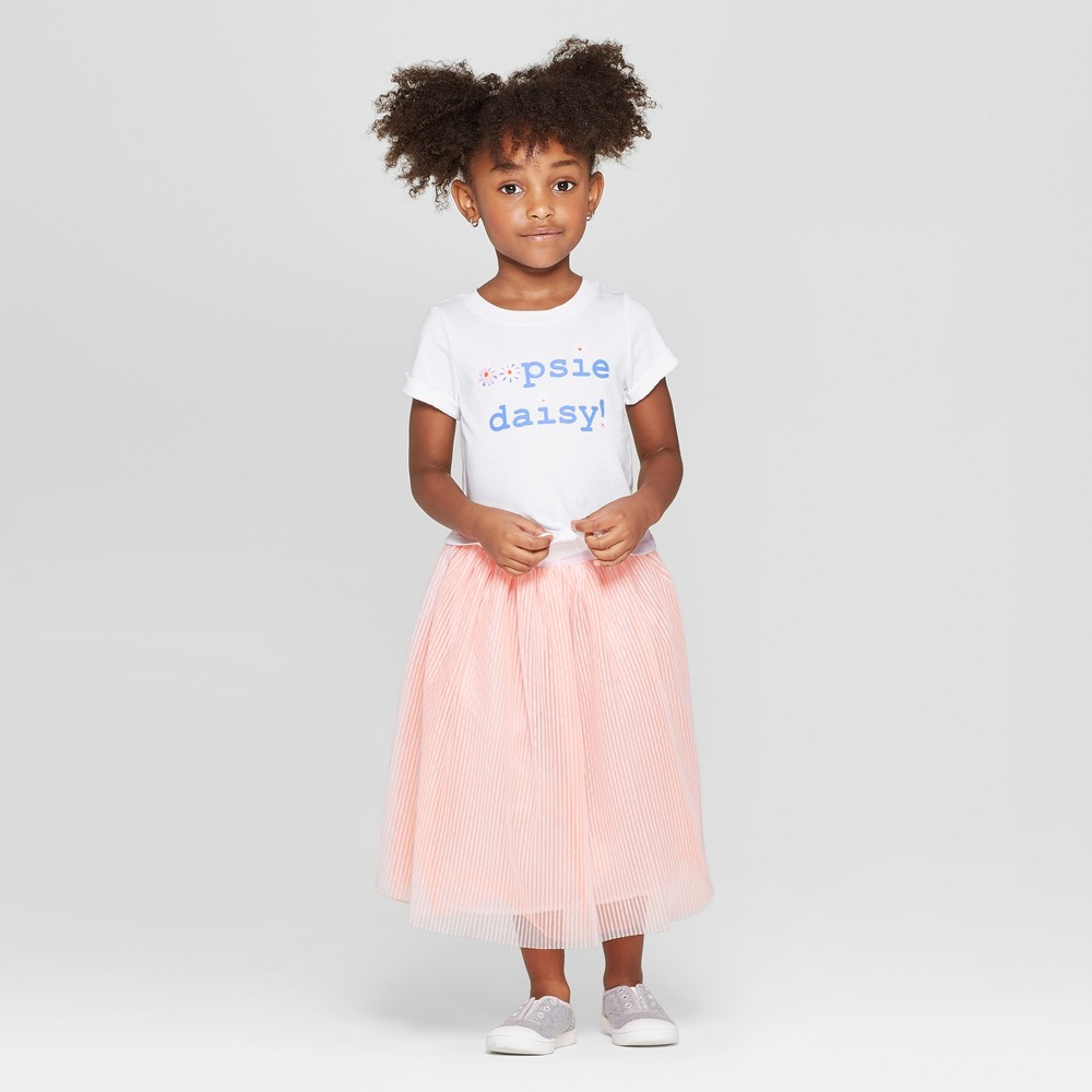 Toddler Girls' Tie-Front Top and Bottom Set - Cat & Jack White/Peach 18M