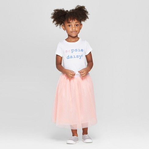 2dcdeaaf Toddler Girls' Tie-Front Top and Bottom Set - Cat & Jack™ White/Peach
