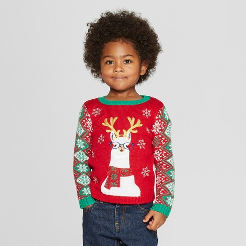 Toddler Llama Family Ugly Christmas Sweater 33 Degrees Red Target